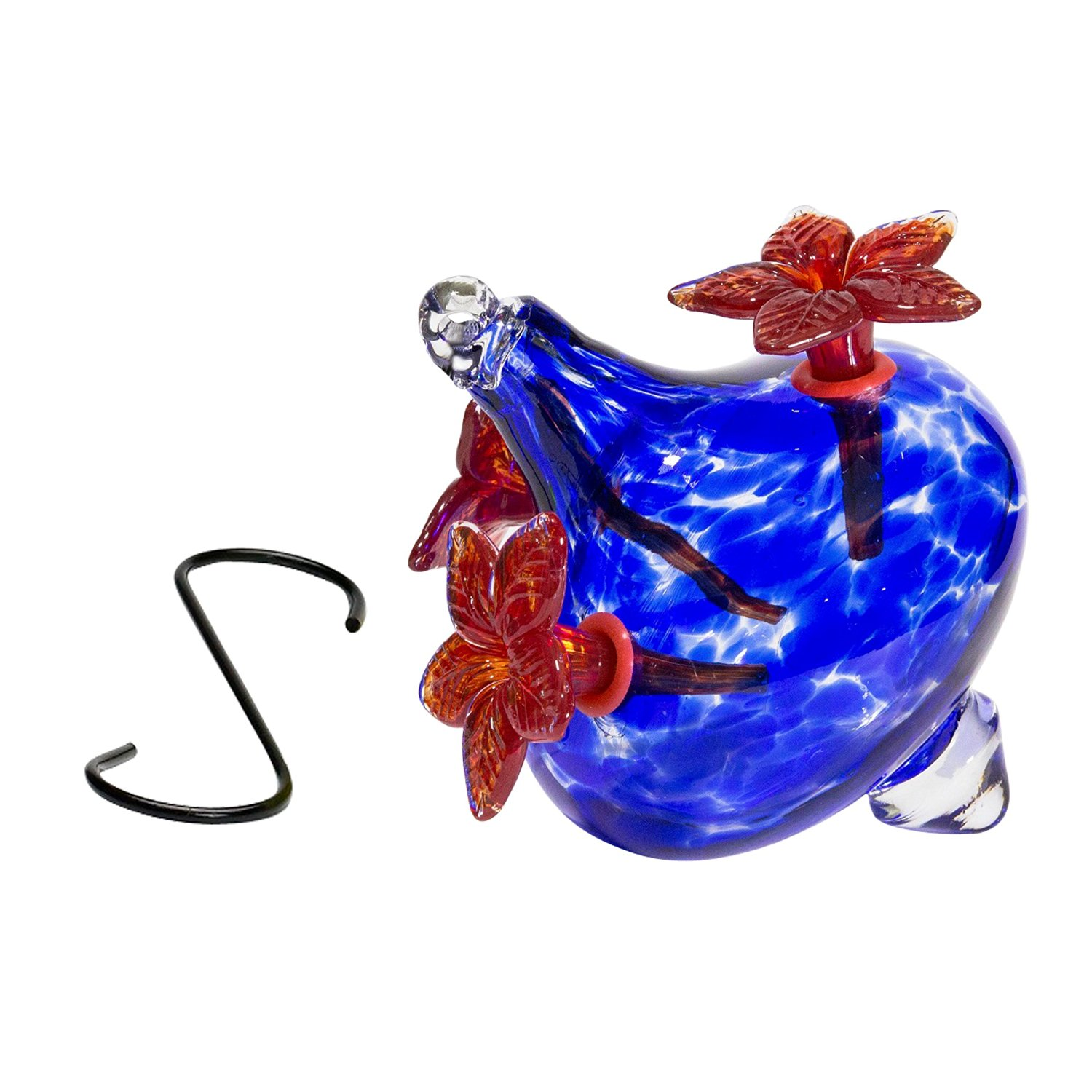 Blown Glass Hummingbird Feeder Flower Vase With Blue
