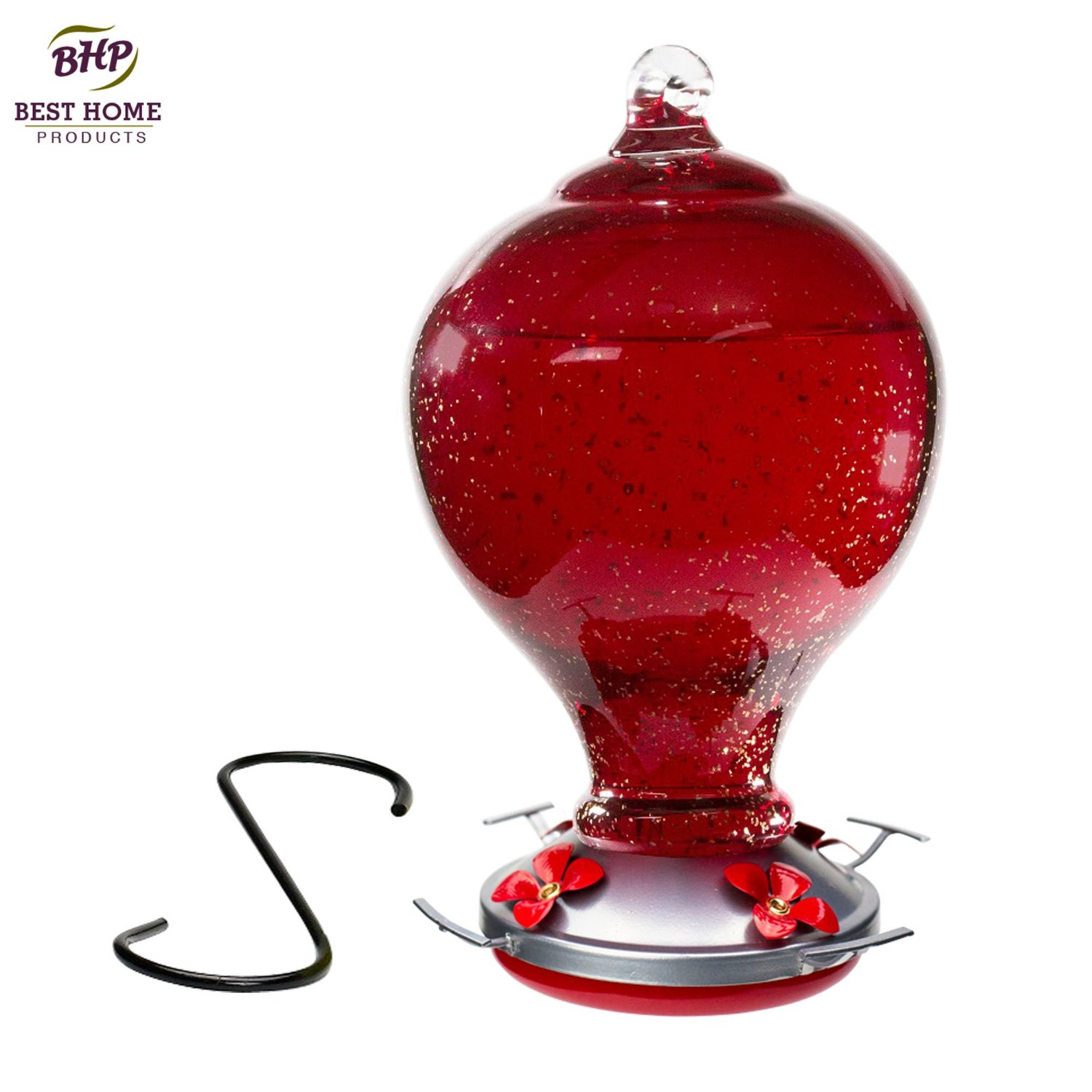 Blown Glass Hummingbird Feeder With Perch Red Cherry