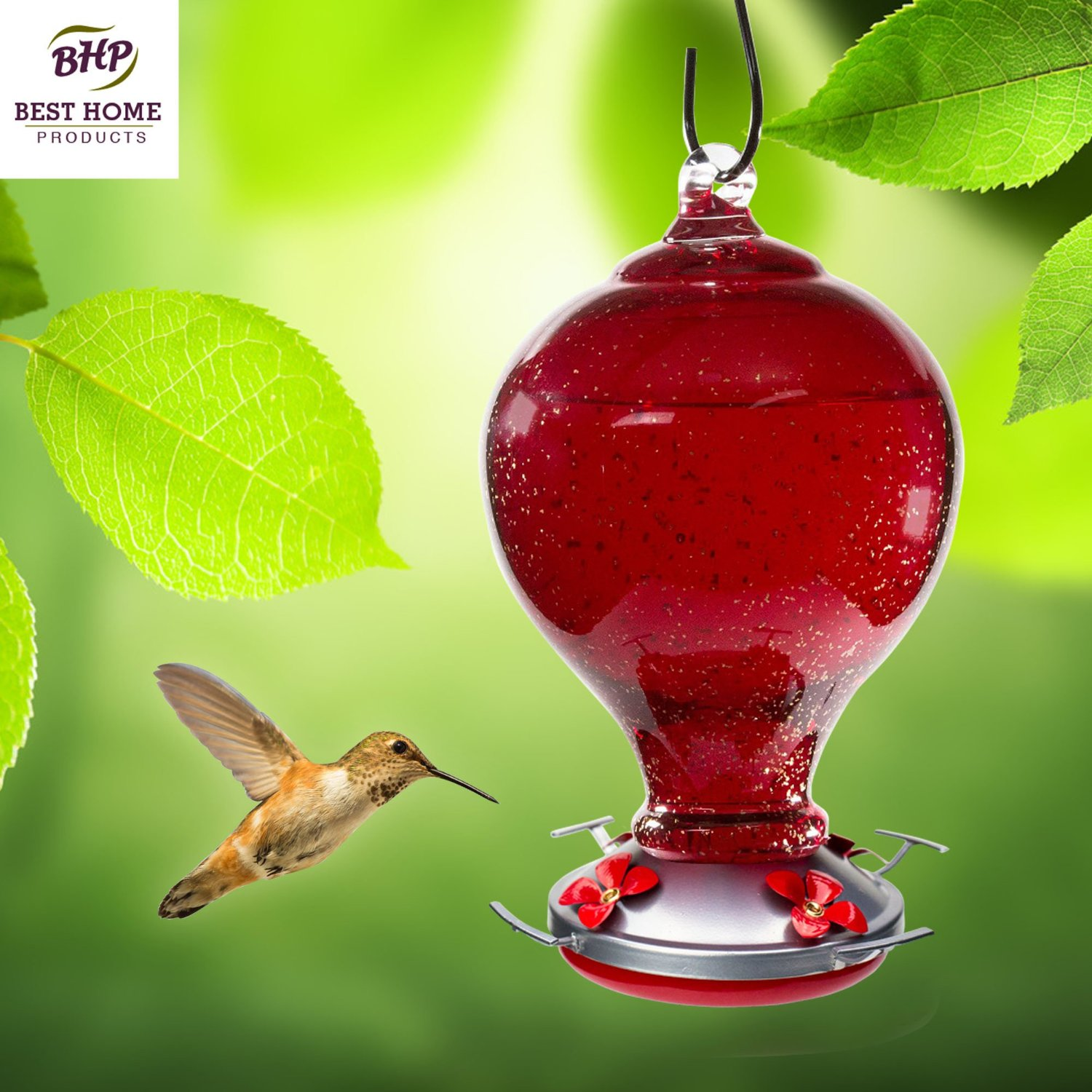 Blown Glass Hummingbird Feeder with Perch - Red Cherry ...