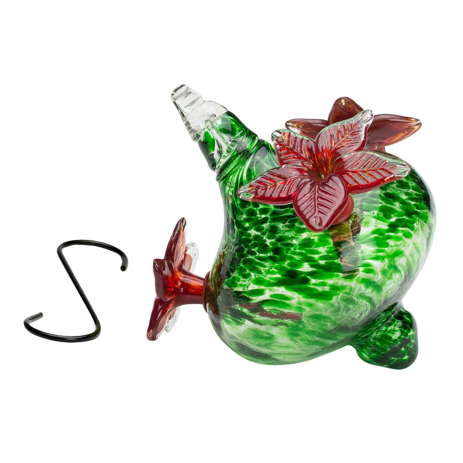 Blown Glass Hummingbird Feeder Green Bouquet Cap With