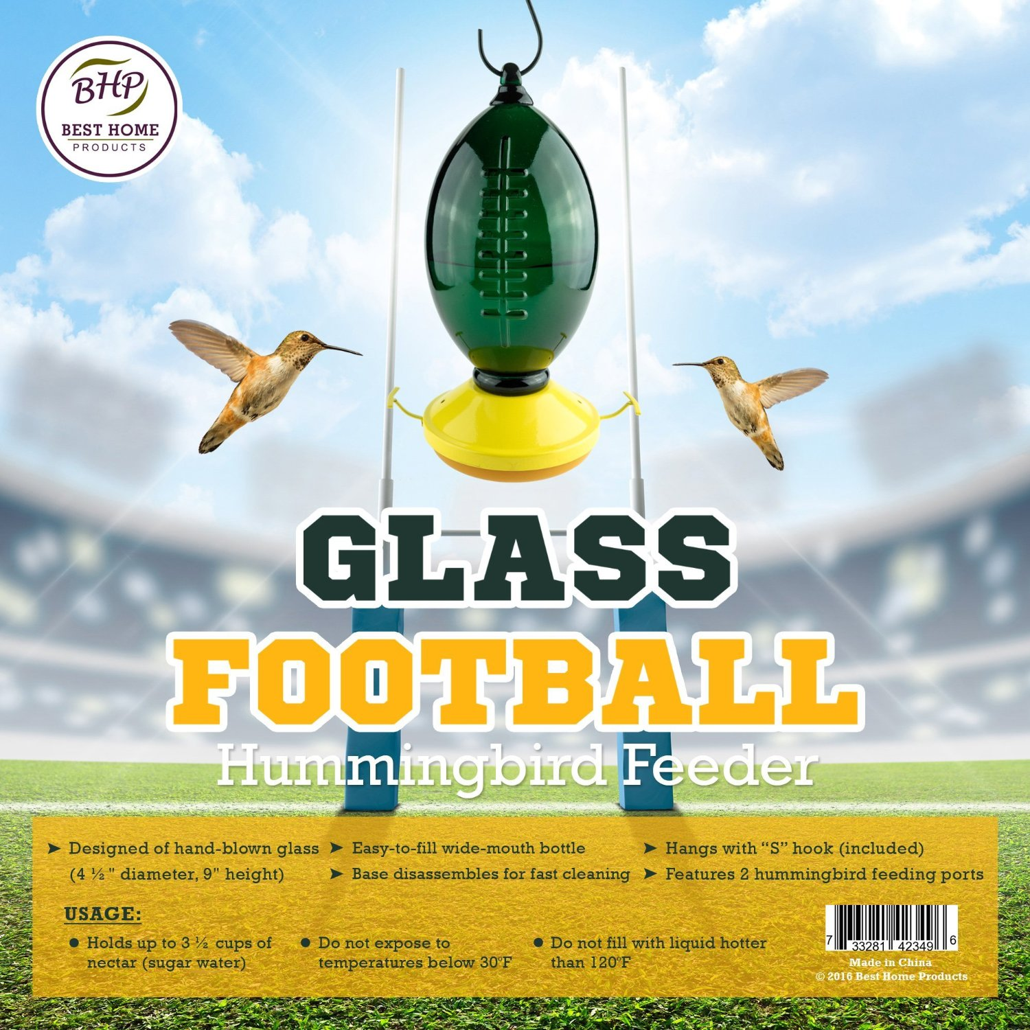Football Hummingbird Feeder With Goal Post Perches Green
