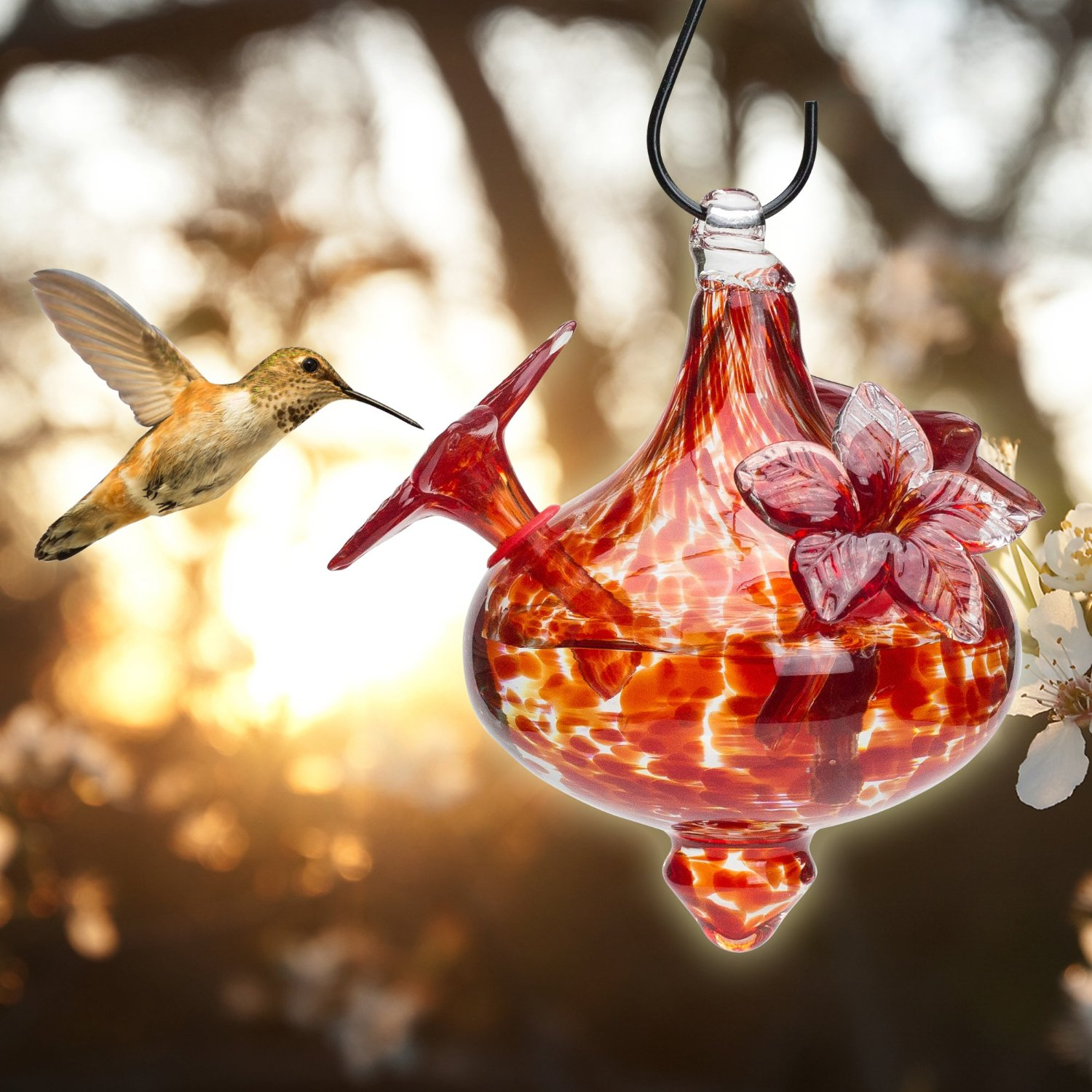 Blown Glass Hummingbird Feeder Red Bouquet Cap With Red
